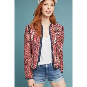 Anthropologie Waverly Quilted Jacket Red XS